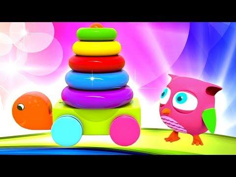 Розовый совенок Хоп Хоп и Черепаха - Учим цвета и цифры.