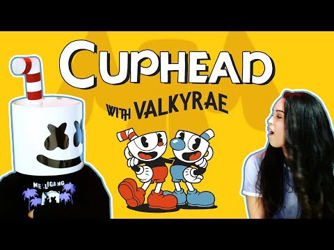 Battling Cuphead Bosses w Valkyrae  Gaming with Marshmello