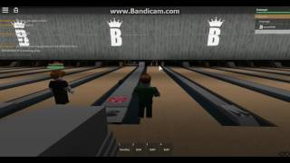 roblox bowling trying to strike with my friend oscar69696 at BRUNSWICK'S bowling alley