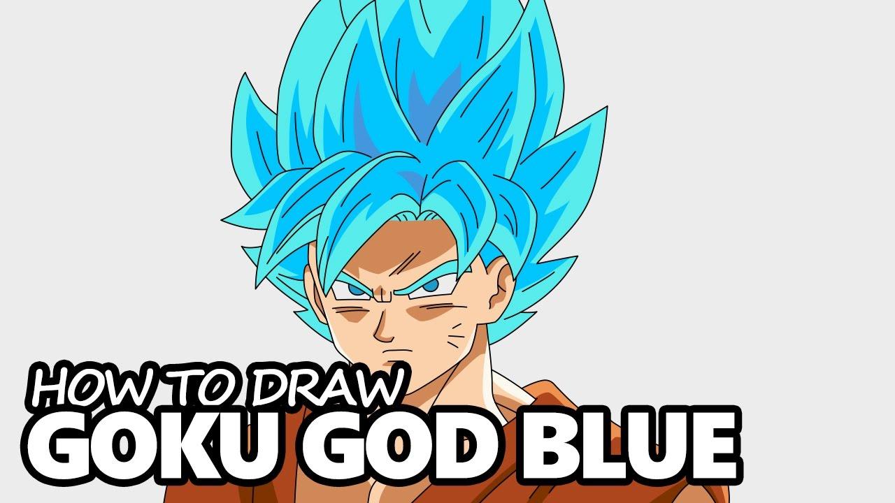 how to draw goku super saiyan blue easy step by step drawing