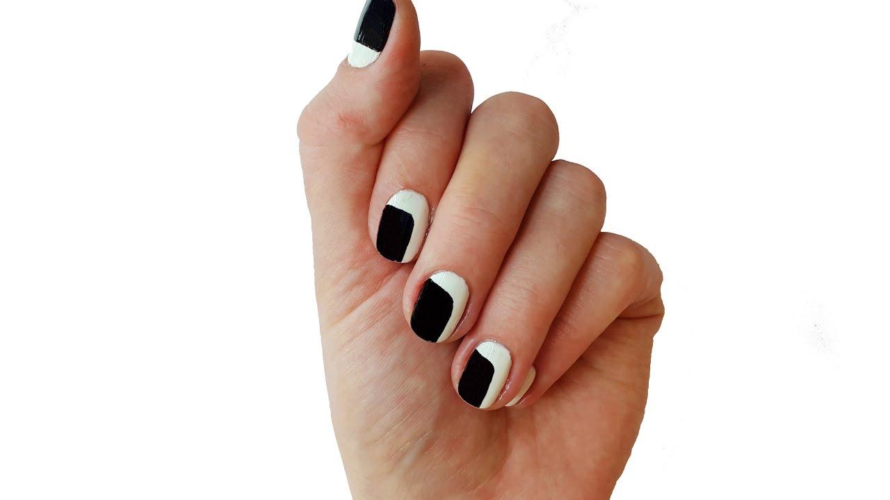 black and white nail design easy