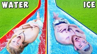 EXTREME Water Slide vs Ice Slide Race! *CHALLENGE*