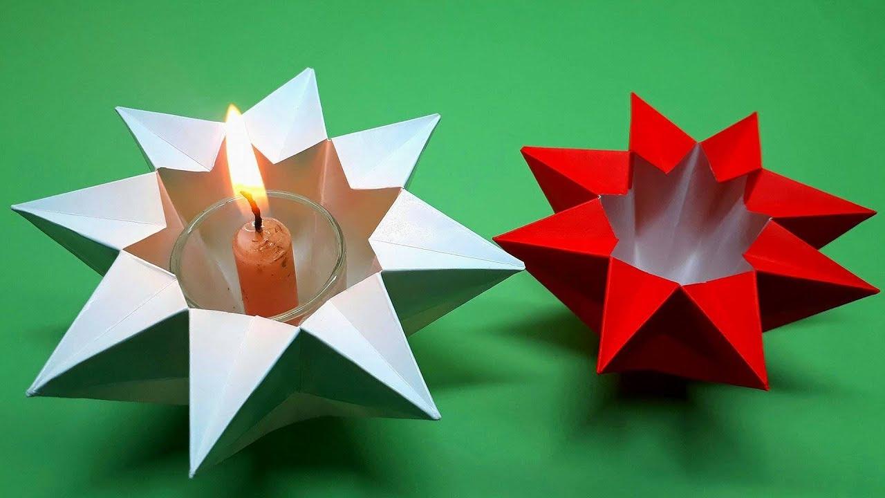 Weihnachtskarten Origami.How To Fold An Easy Origami Star Lantern Tealight Star Noel Decoration