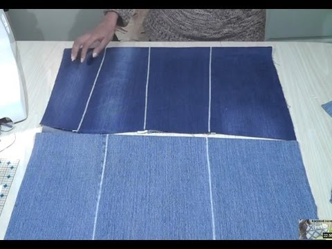 Generate How to make flat fabric from old jeans / Seamless zig zag join technique Images