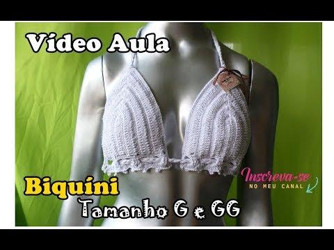 cc073fc8a Biquíni em Crochê - Tamanho G e GG- Katiane Crochê Fio a Fio - YouTube