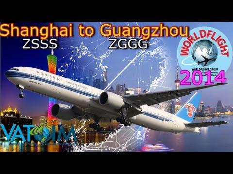 WorldFlight 2014 leg 36 Shanghai to Guangzhou PMDG 777