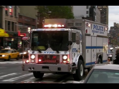NYPD Police Emergency Service Unit Truck One Responding LIghts and Sirens