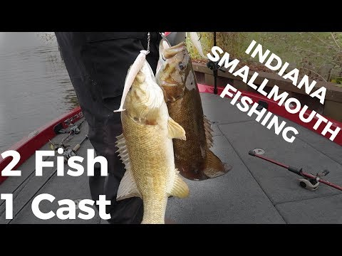 """2 Fish 1 Cast?! Indiana Smallmouth Fishing """"Wabash River"""" with Terry McWilliams"""