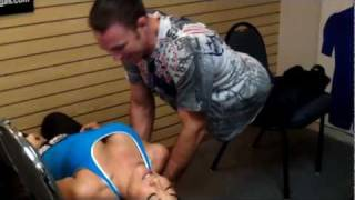 Jake Shields performs a Motorboat/Plank combo on Tracy Lee