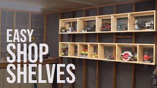 Floating Garage Shelves / Shop Storage // DIY Woodworking