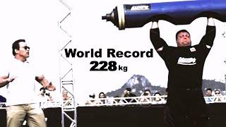Zydrunas Savickas Log World Record 228kg in front of Arnold