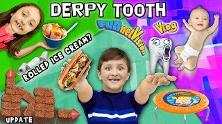Mike's DERPY Stubborn Tooth   Rolled Up Ice Cream   Backyard Fort Updates FUNnel Family Vlog