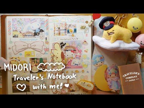 MIDORI Traveler's Notebook With Me + Kawaii Sanrio Japan Stationery Haul ( ミドリトラベラーズノート )