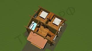 Дачный Дом  08. ( 96.93м2 ) Планировка первого и второго этажа.