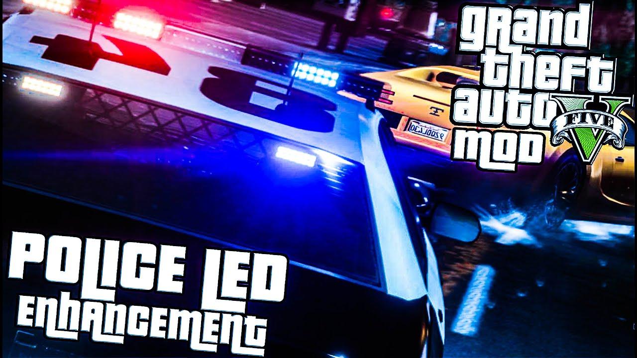 Police Led Lights >> GTA 5 PC: LED Emergency Light Improvement Mod (Grand Theft ...