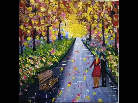Acrylic Painting on Canvas/ Acrylic paintings landscape by Atique Art