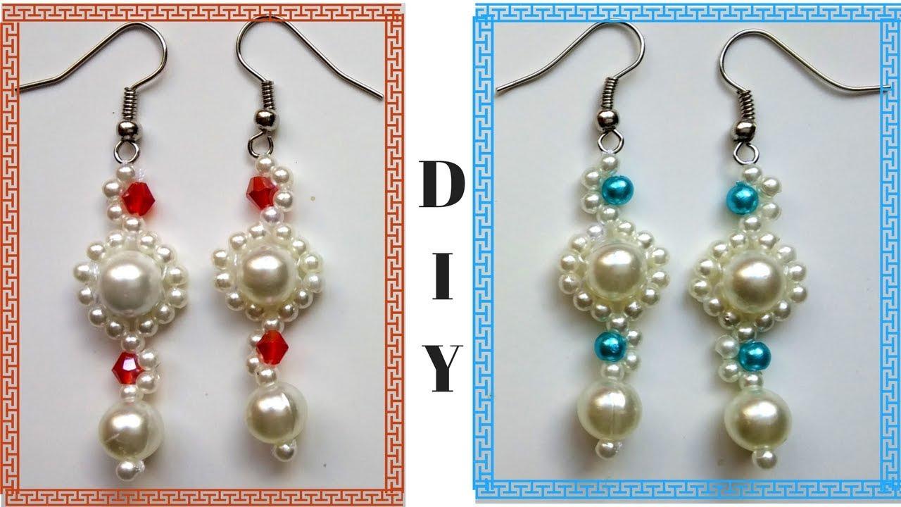 Beading earrings tutorial for beginners. 10 minutes DIY ...
