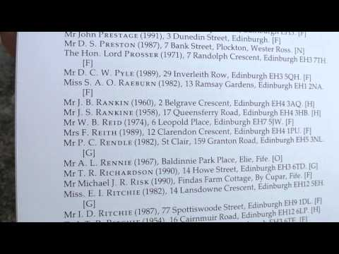 Scottish Arts Club List of Members 1991