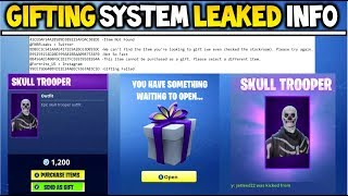 GIFTING SYSTEM CONFIRMED LEAKED INFORMATION! (Gifting SKINS In Fortnite Season 5! | Gifting System)