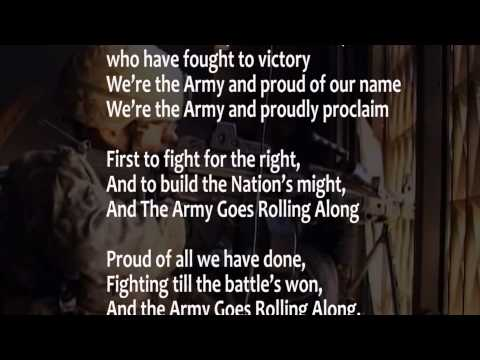 The Army Song with lyrics performed  The United States Army Band w scrolling