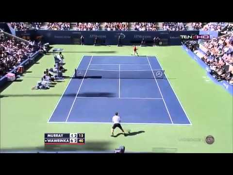 Stanislas Wawrinka vs Andy Murray ~ 2nd Set Highlights ~ US Open 2013 QF)