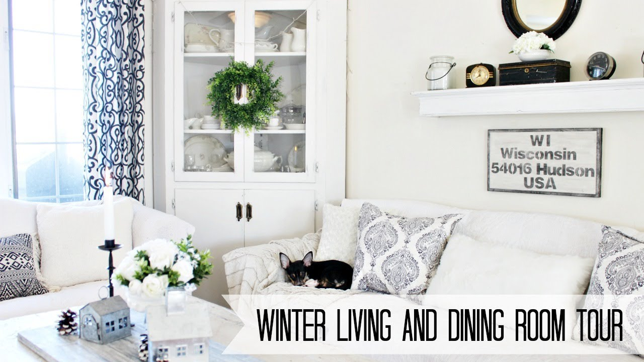 Winter Living and Dining Room Tour | Farmhouse Style - YouTube