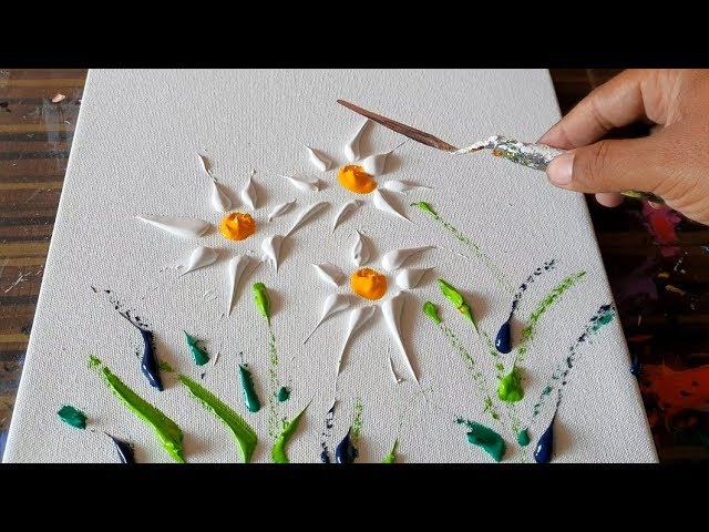 Wild Flowers Simple Floral Painting Abstract Painting Demonstration Daily Art Therapy Day 09