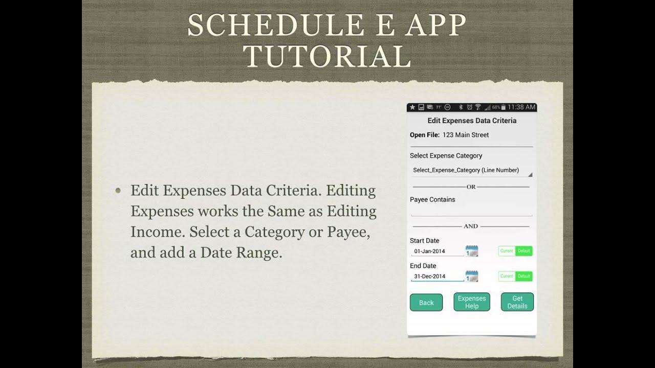 Schedule E App Tutorial YouTube – Schedule E Worksheet