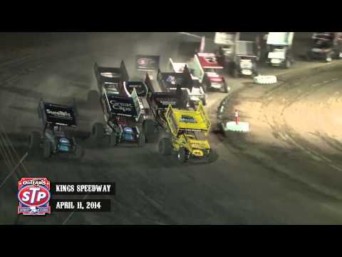 Highlights: World of Outlaws STP Sprint Cars Kings Speedway April 11th, 2014