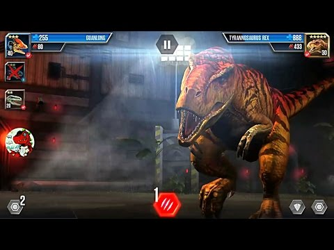 Jurassic World The Game stage 19 beating Tyrannosaurus Rex