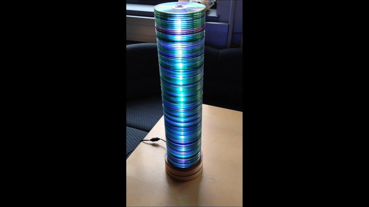 kopie von cd upcycling lampe mit lichtver nderung durch. Black Bedroom Furniture Sets. Home Design Ideas