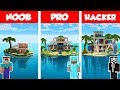 Minecraft NOOB vs PRO vs HACKER: MODERN ISLAND HOUSE BUILD CHALLENGE in Minecraft / Animation