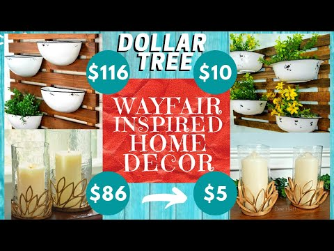 2 WAYFAIR INSPIRED DECOR DIYs | DOLLAR TREE | Glass Candle Holders + Enamel Pot & Wood Wall Decor