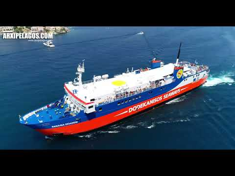 PANAGIA SKIADENI Ro RoPassenger Ship Arriving at the port of Symi  Greece AERIAL DRONE 4K VIDEO