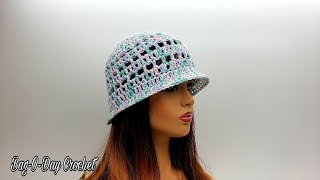 How To Crochet An Easy Ladies Hat | Spring Candy | Bag-O-Day Crochet Tutorial #587
