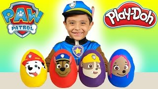 paw patrol play doh surprise eggs chase opening nickelodeon family fun kids toys disney cars playing