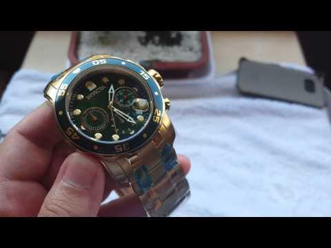 Relógio invicta pro diver 0075 / 21925 funcionamento original dourado naaltarelojoaria