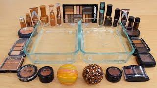 Makeup - Caramel vs Chocolate - Mixing Makeup Eyeshadow Into Slime ASMR 261 Satisfying Slime Video