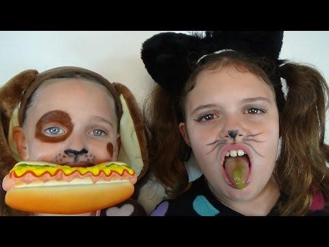 Bad Baby Kitty vs Puppy Gross Food Victoria & Annabelle Toy Freaks Hidden Egg