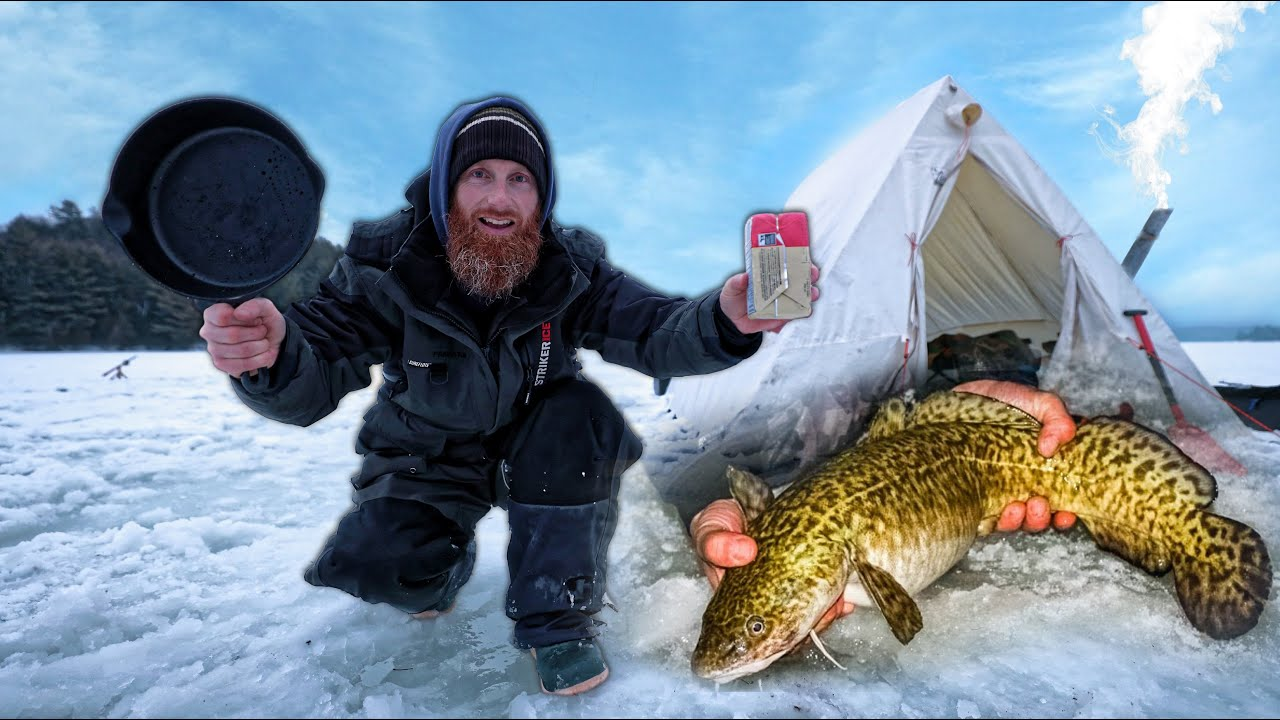 Winter Life in Canvas Tent on a Frozen Canadian Lake - Fishing for Food | ASMR (Silent)