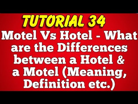 Motel vs Hotel-What is the difference between hotel and motel-Meaning,Definition (Tutorial 34)