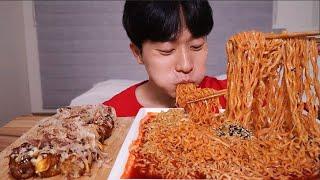불닭볶음면 타코야끼 먹방ㆍ맛있다 맛있어 !  !  MUKBANG ASMR SPICY FIRE NOODLES Takokayki EATING SHOW
