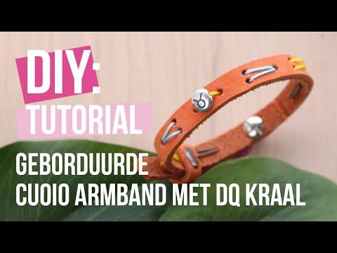 Sieraden maken: Geborduurde Cuoio armband met DQ kraal ♡ DIY
