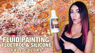 Fluid Acrylic Pouring Tutorial - FLOETROL & SILICONE - FALL COLORS