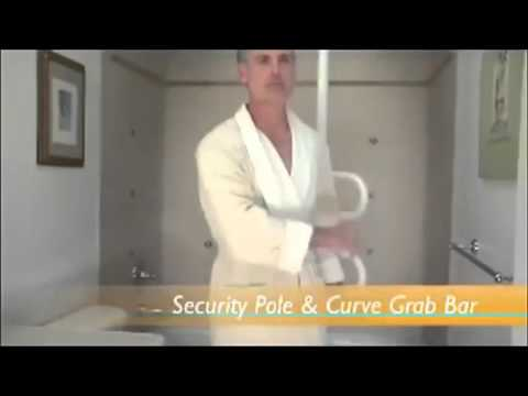Stander Security Pole And Curved Grab Bar
