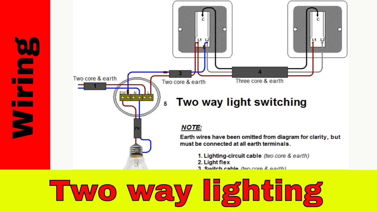 how to wire two way light switch two way lighting circuit youtube rh youtube com Two-Way Dimmer Switch Wiring Two Light Wiring Diagram