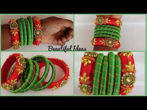 #DIY/How to make Silk thread Designer Bangles at home/Beautiful Ideas/Reuse Ideas/Jewellery tutorial