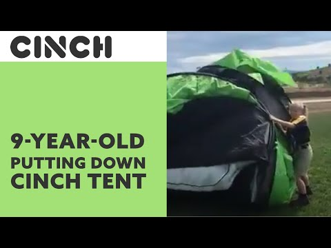9 Year old Kimberly putting her Cinch! Pop up tent down. & 9 Year old Kimberly putting her Cinch! Pop up tent down. - YouTube