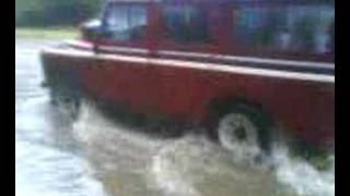 A mate in his Landrover 109 In the Sheffield floods 25-6-07
