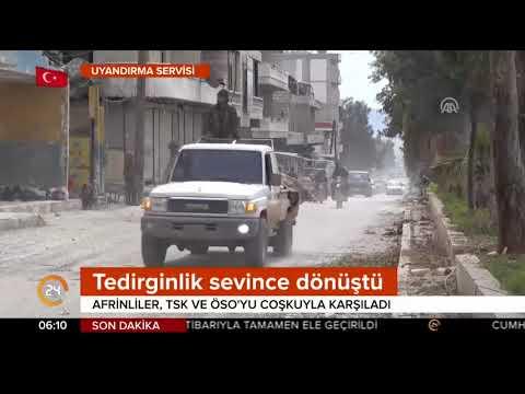 TSK Afrin'de coşkuyla karşılandı